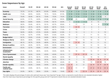 Issue Importance by Age