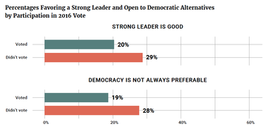 Percentages Favoring a Strong Leader and Open to Democratic Alternatives by Participation in 2016 Vote