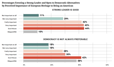 Percentages Favoring a Strong Leader and Open to Democratic Alternatives by Perceived Importance of European Heritage to Being an American