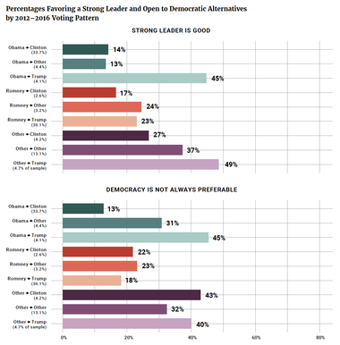 Percentages Favoring a Strong Leader and Open to Democratic Alternatives by 2012–2016 Voting Pattern