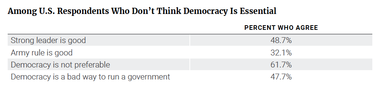 Among U.S. Respondents Who Don't Think Democracy Is Essential